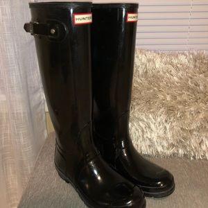 Black Tall shiny hunter boots